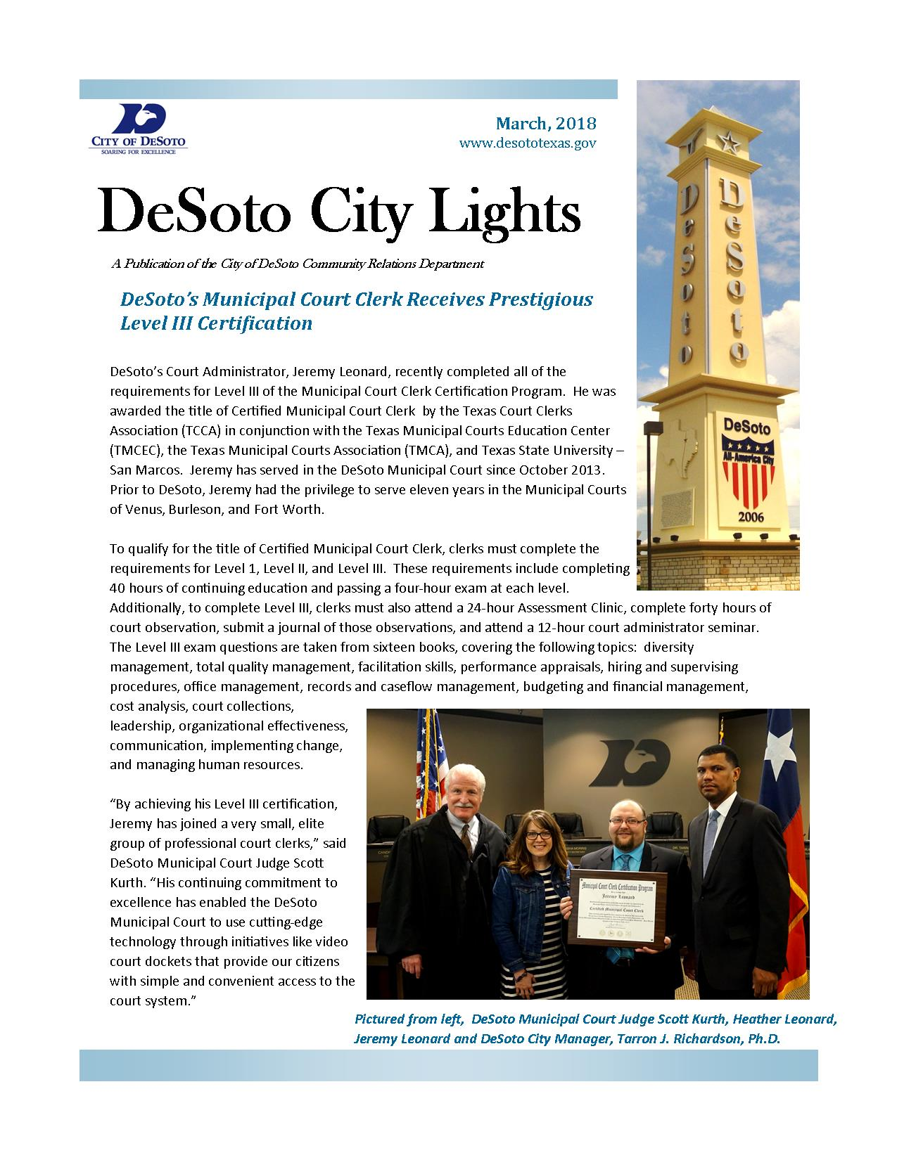 Desoto tx official website official website city lights march 2018 aiddatafo Images