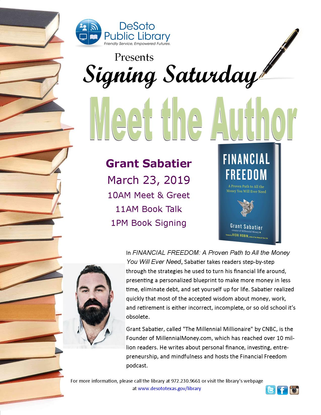 Grant Sabatier-Financial Freedom signing