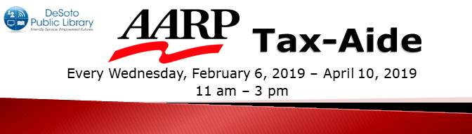 2019 AARP Tax-Aide at the DeSoto Public Library banner ABC