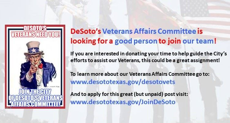 Posting seeking candidates to join DeSoto&#39s Veterans Affairs Committee