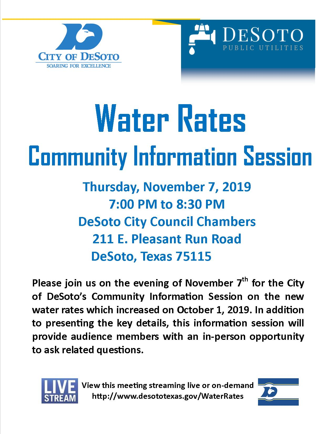 Flyer for DeSoto's November 7th Water Rates Meeting