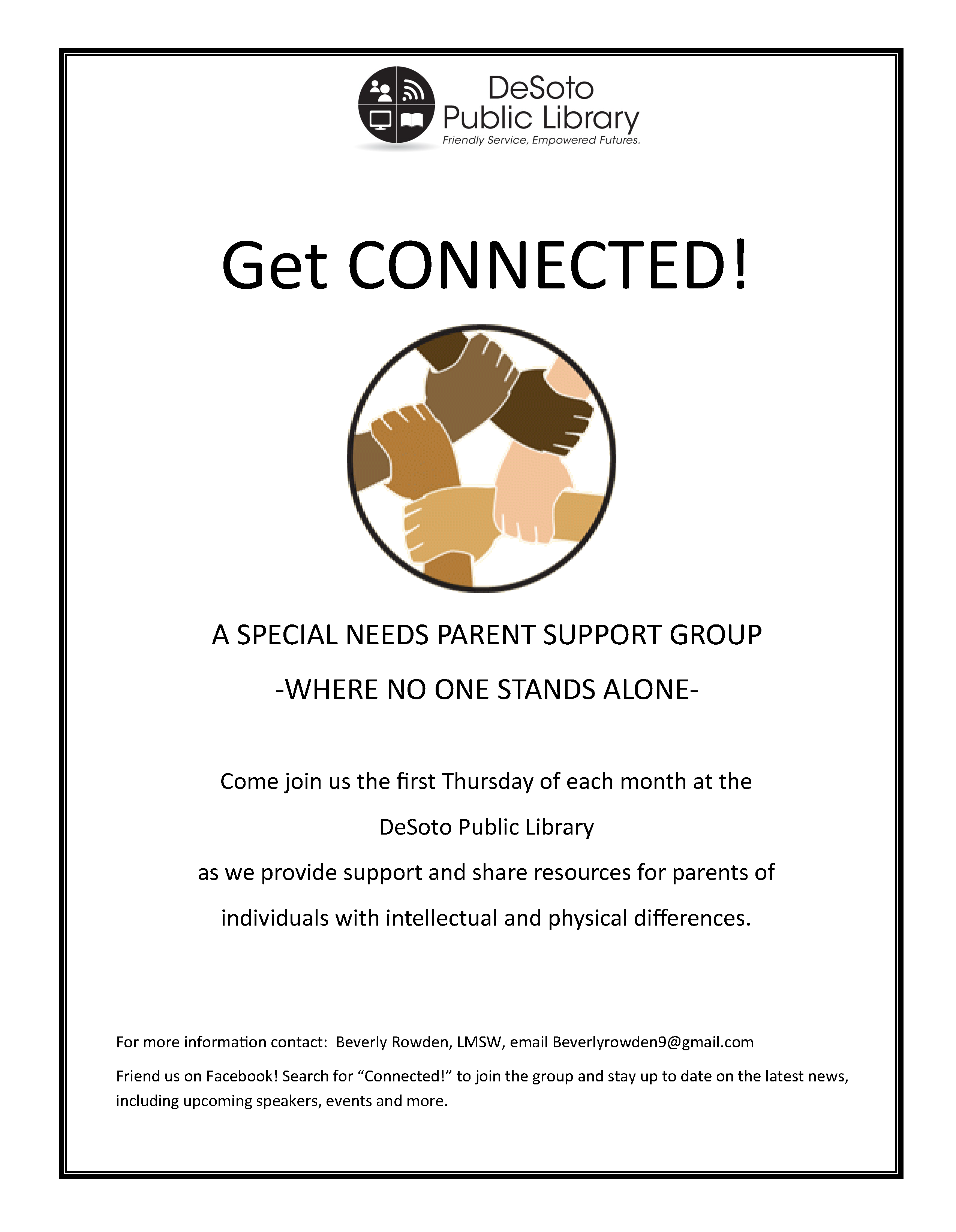 Get Connected! Special Needs Parent Support Group flyer