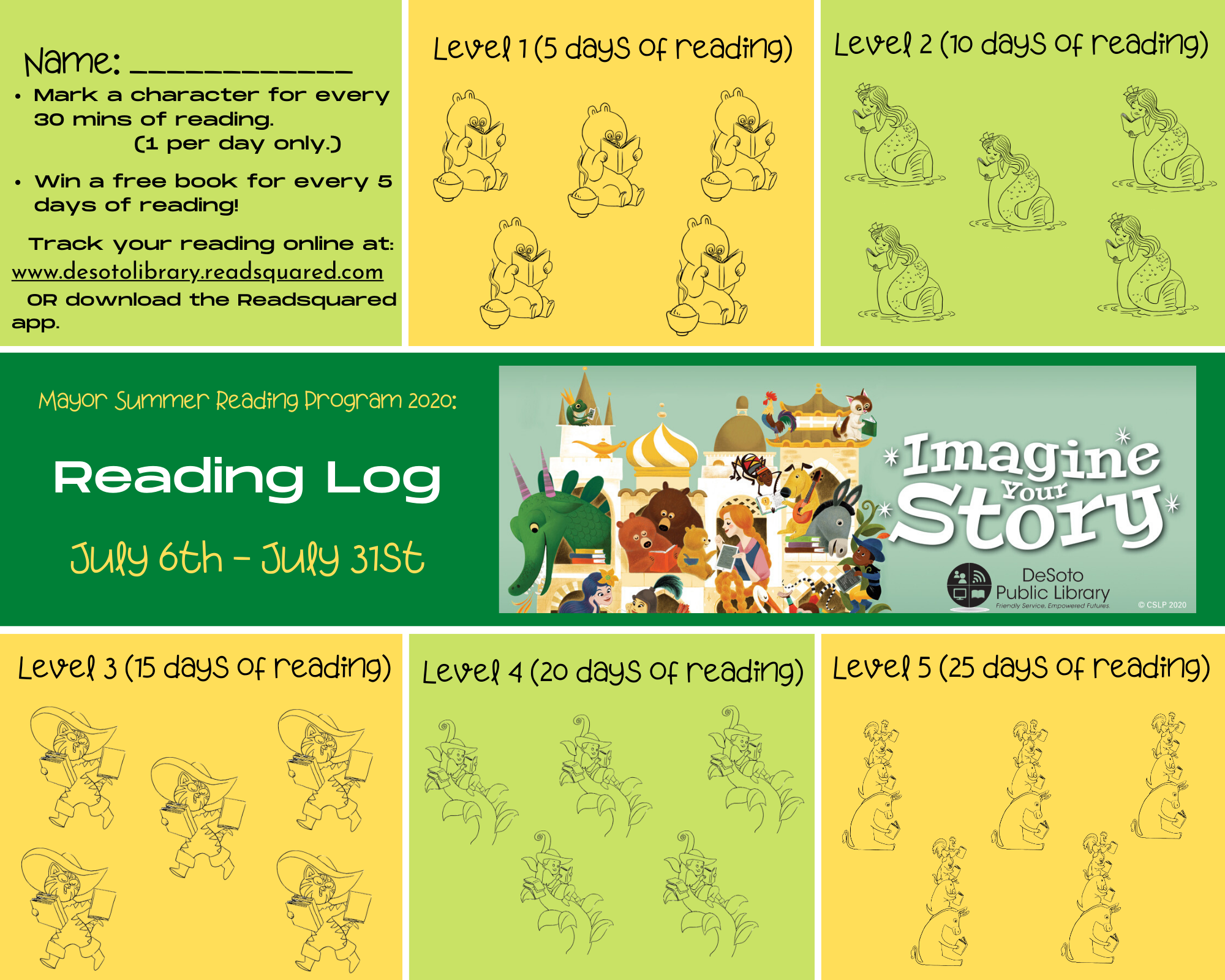 Youth Summer Reading Log 2020 - Click here for a printable version