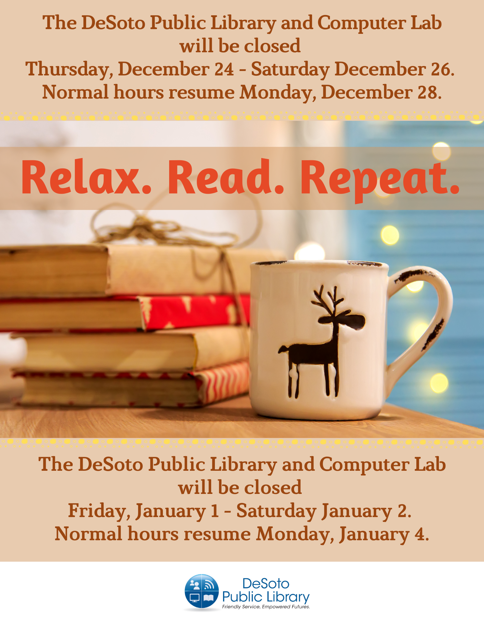 2020 Library Winter Holiday Hours flyer