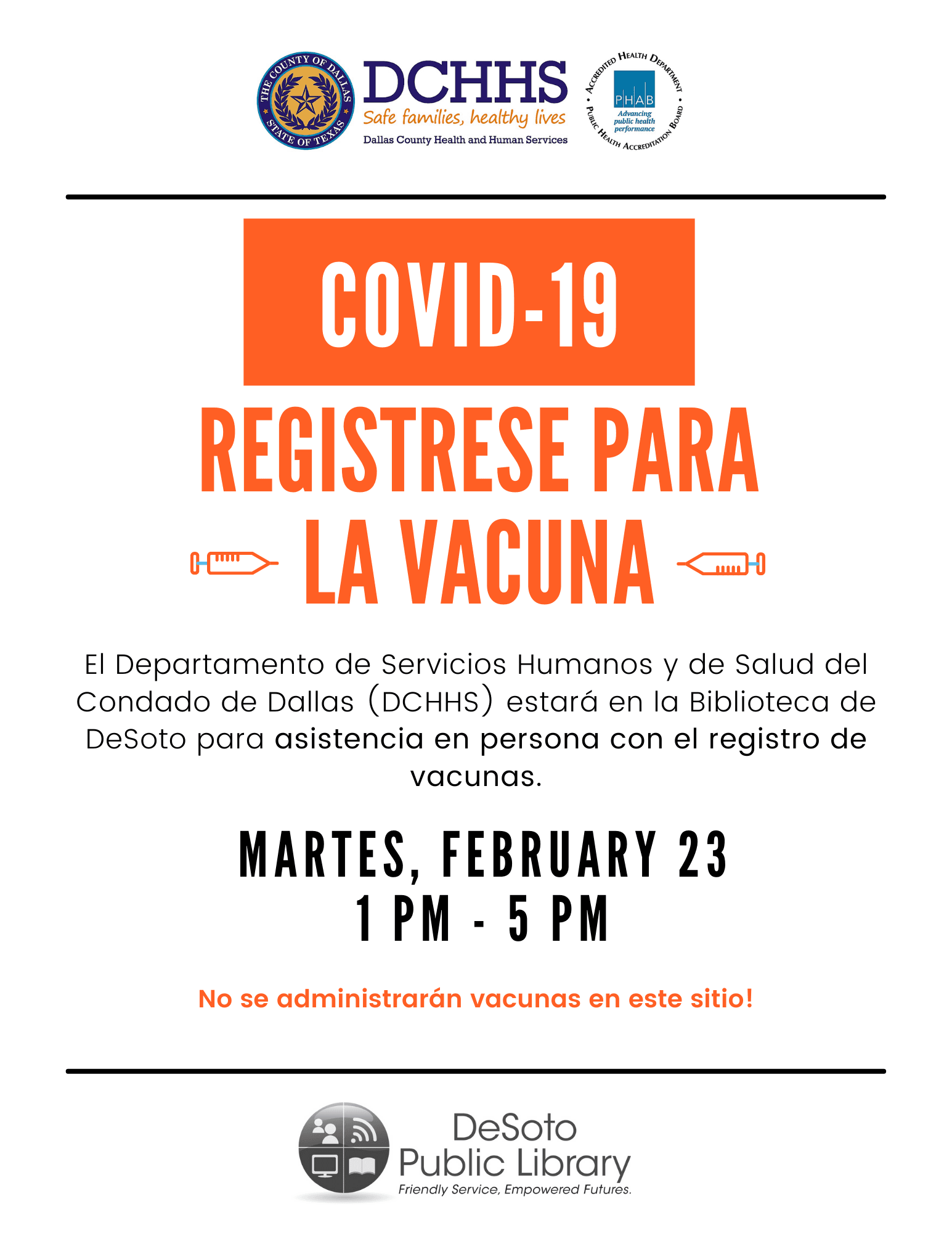 DCHHS COVID-19 Vaccination Registration-February 9, 2021 (Spanish)