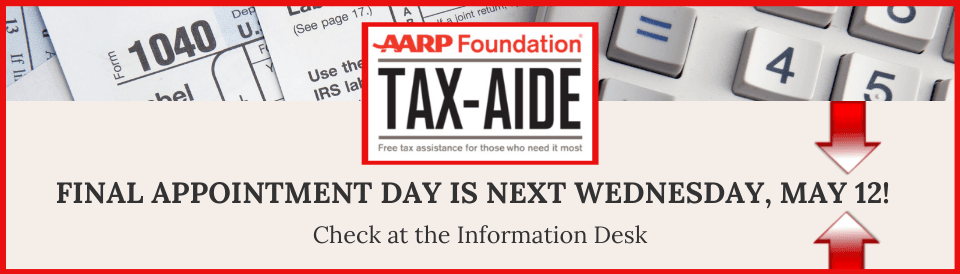AARP Tax Aide 2021-Tax Appointments Available-Call 972-230-9661 Or Ask At The Library Information Desk