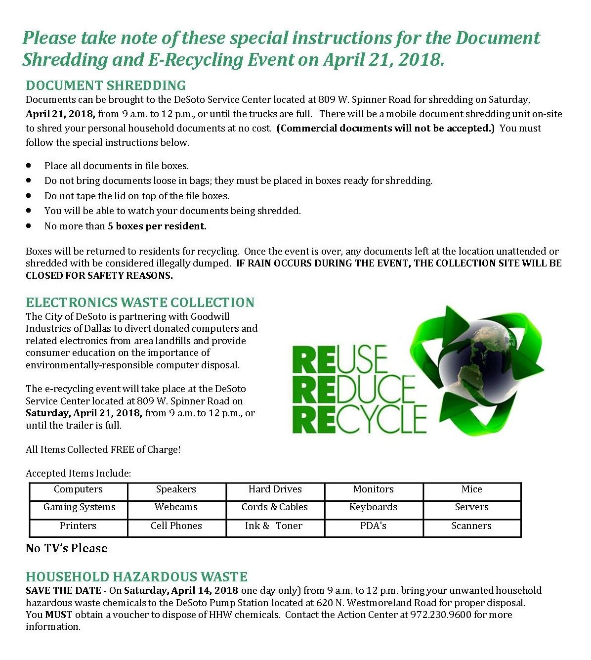 Recycling Event 4-21-18
