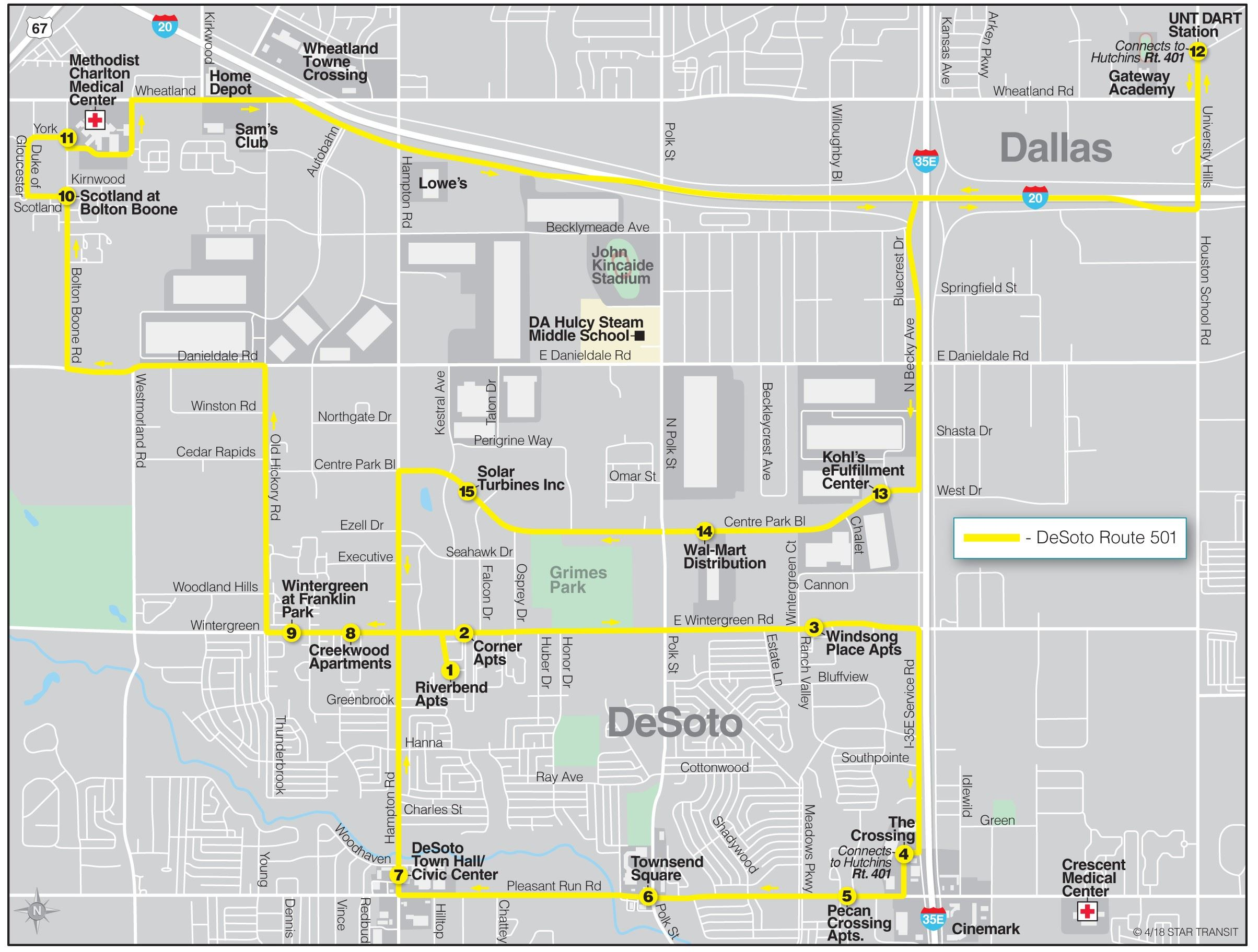 DESOTO STAR Transit MAP