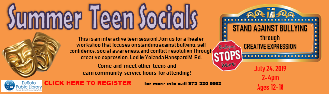 Stand Against Bullying through Creative Expression--Summer Teen Socials 2019--Click here to register!