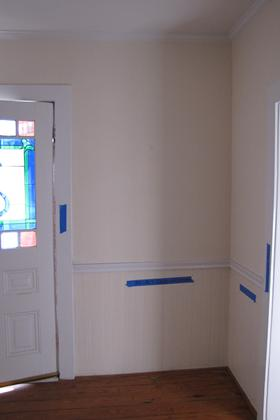 Front Door with Stained Glass and East Wall of Ent