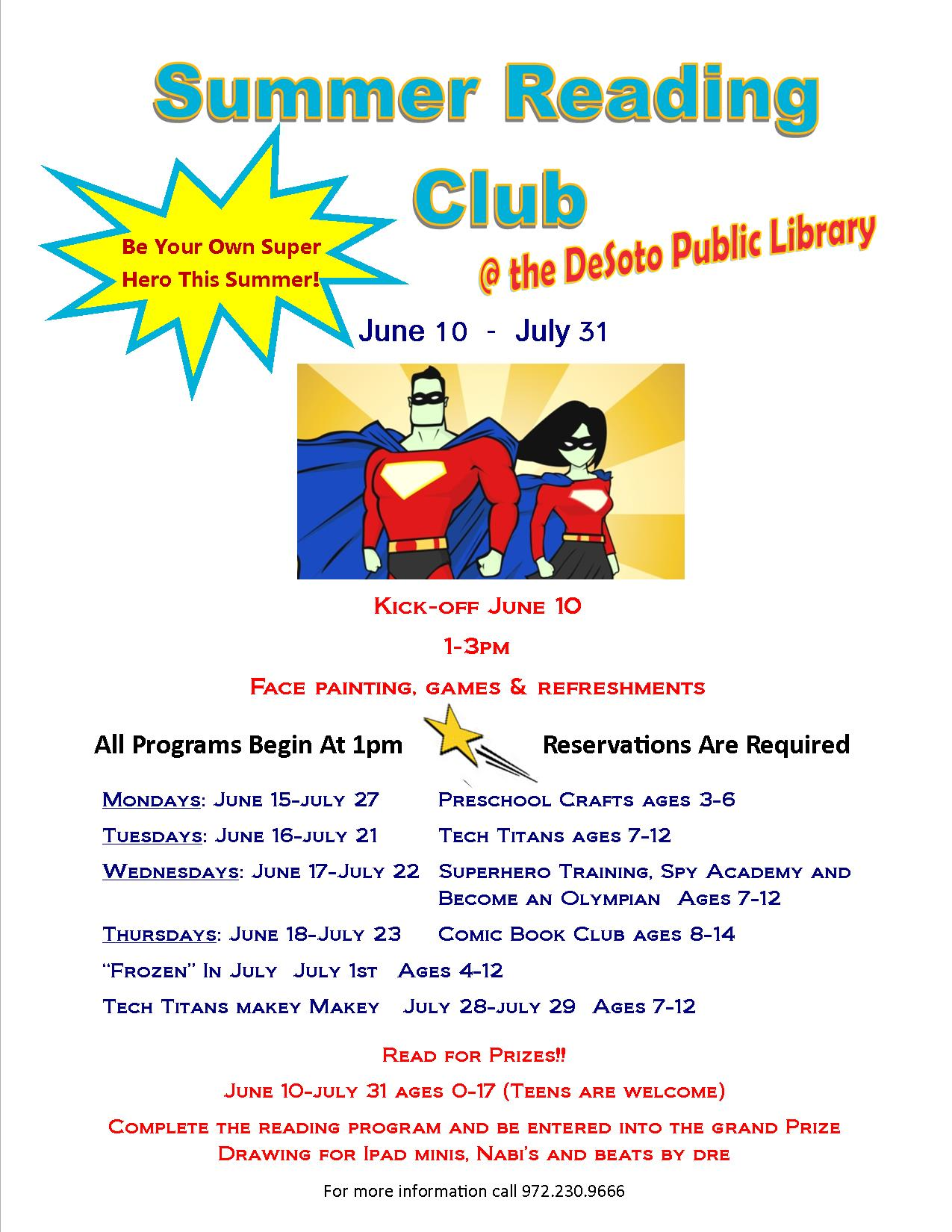 2015 Summer Reading Club Flyer