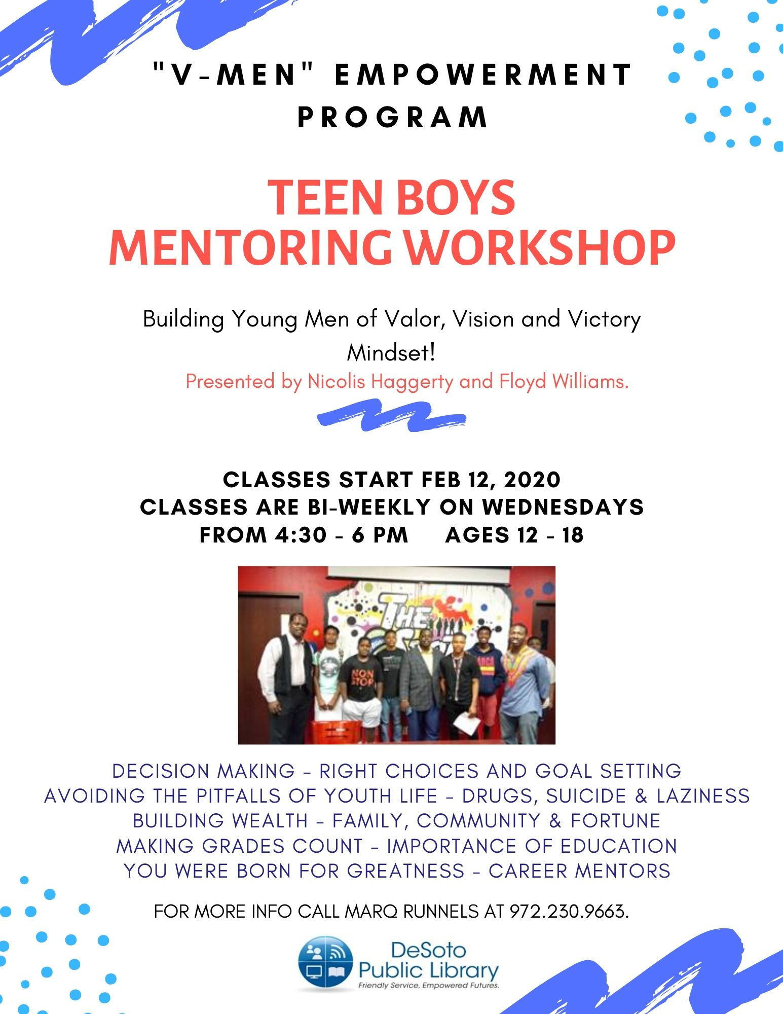 V-Men Teen Boys Mentoring Workshop Spring 2020 flyer