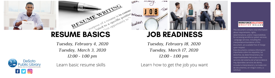 Resume Basics and Job Readiness Spring 2020 banner
