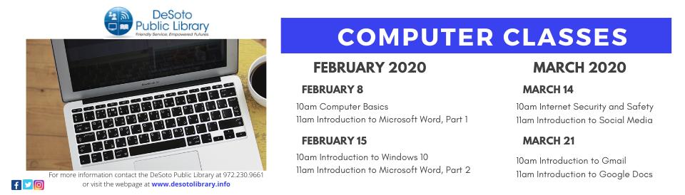 Computer Classes Spring 2020 banner--click for calendar details