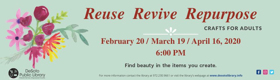 Crafts for Adults Spring 2020 banner--click for calendar details