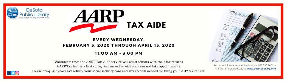 AARP Tax Aide Spring 2020 banner--click for calendar details
