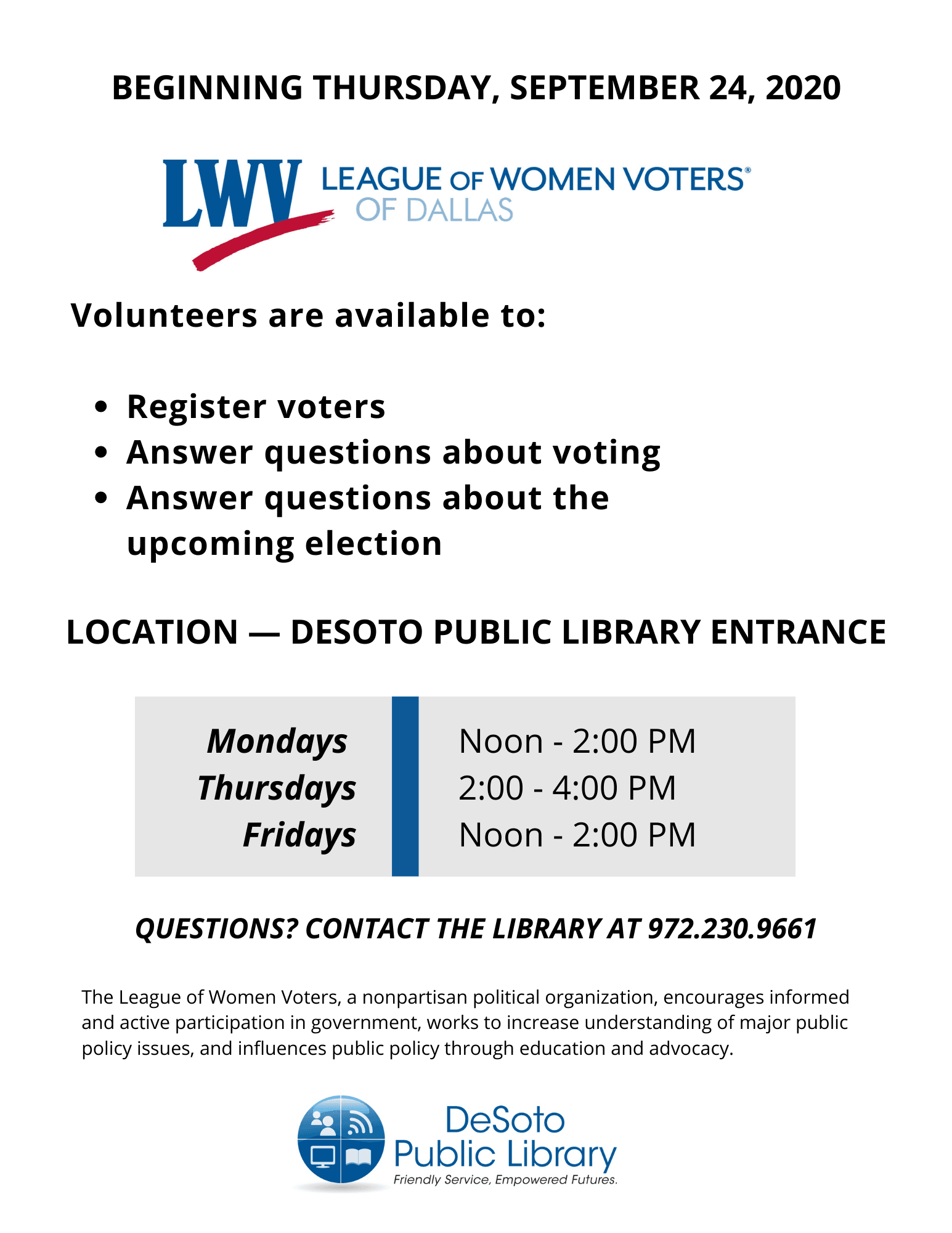 LWV Voter Assistance Fall 2020 flyer