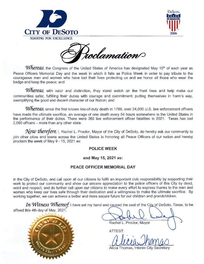 2021-05-04 Peace Officer Memorial Day and Peace Officer Week Proclamation