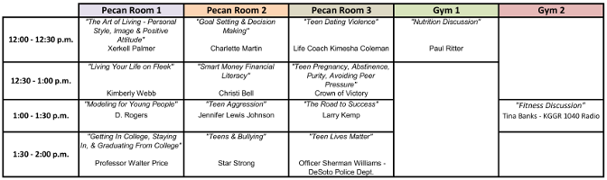Teen Expo Guest Speaker Schedule